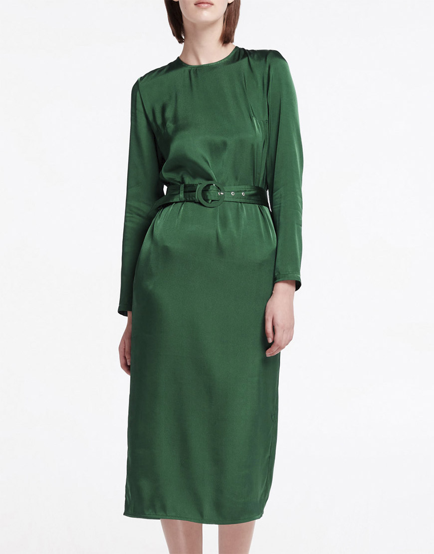Платье миди с поясом прямого кроя