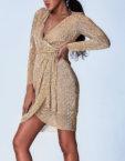 Платье на запах расшитое мелкой пайеткой CVR_CW20193, фото 4 - в интеренет магазине KAPSULA