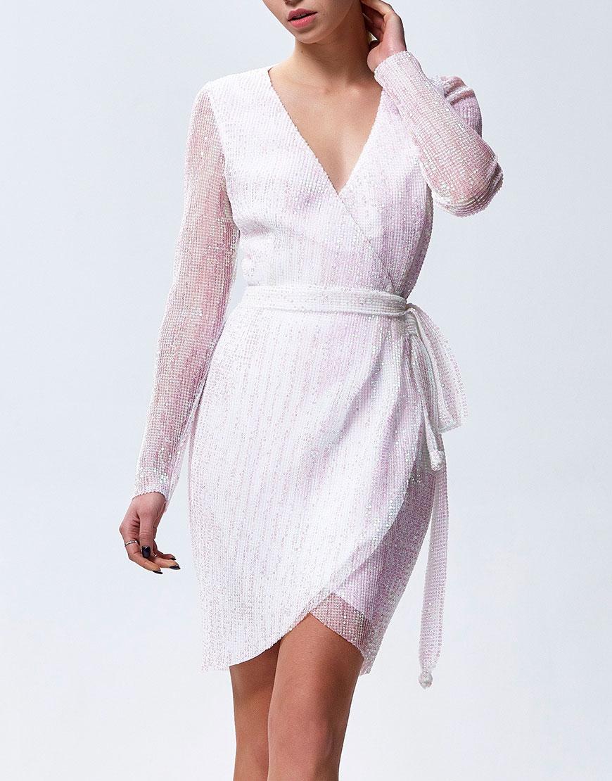 Платье на запах расшитое мелкой пайеткой