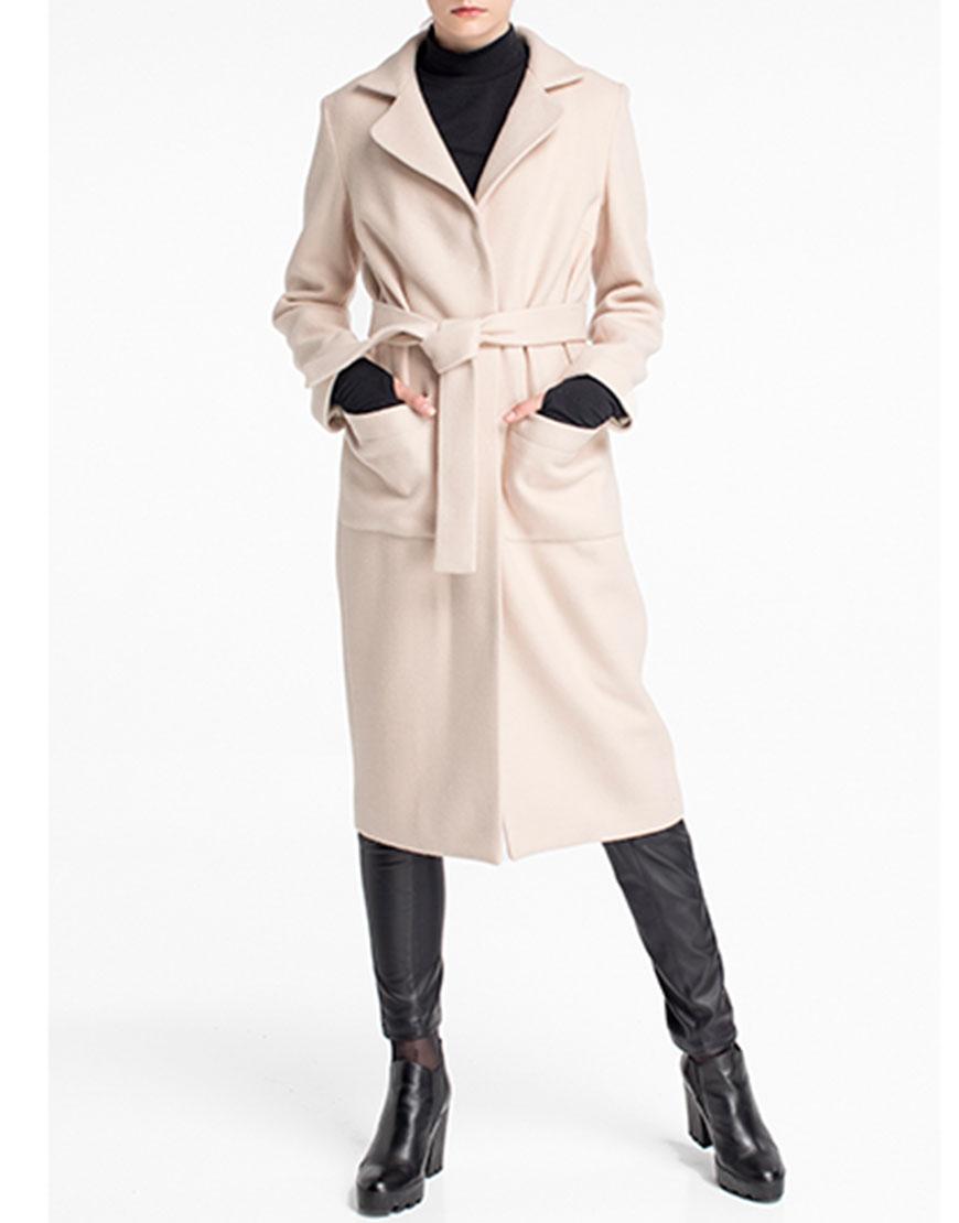 Пальто прямое молочное