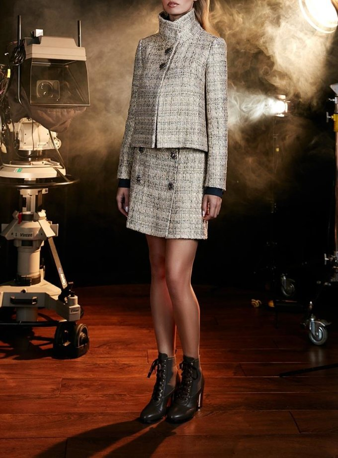 Твидовая юбка из шерсти с декором SOL_ SOW2018S08, фото 1 - в интернет магазине KAPSULA