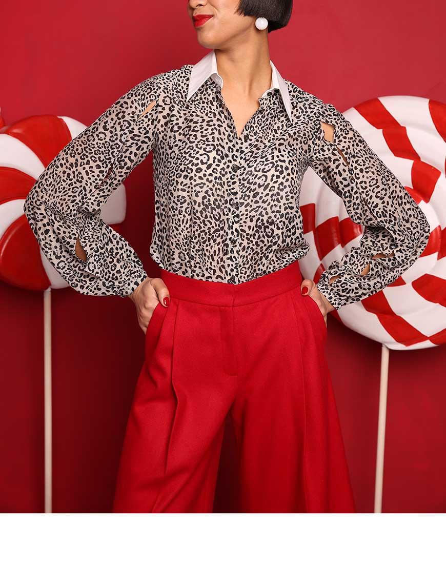 Купить Блуза хлопковая леопард мелкий принт