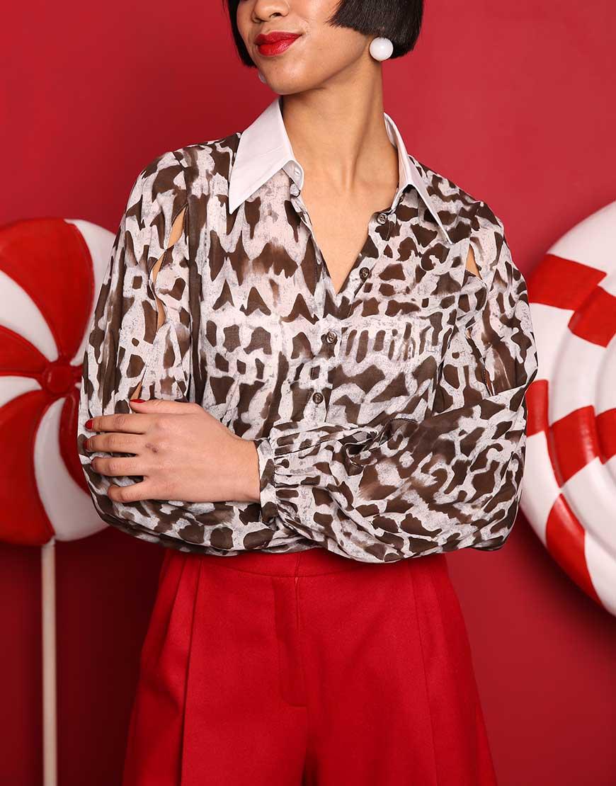 Блуза из хлопка в принт леопард