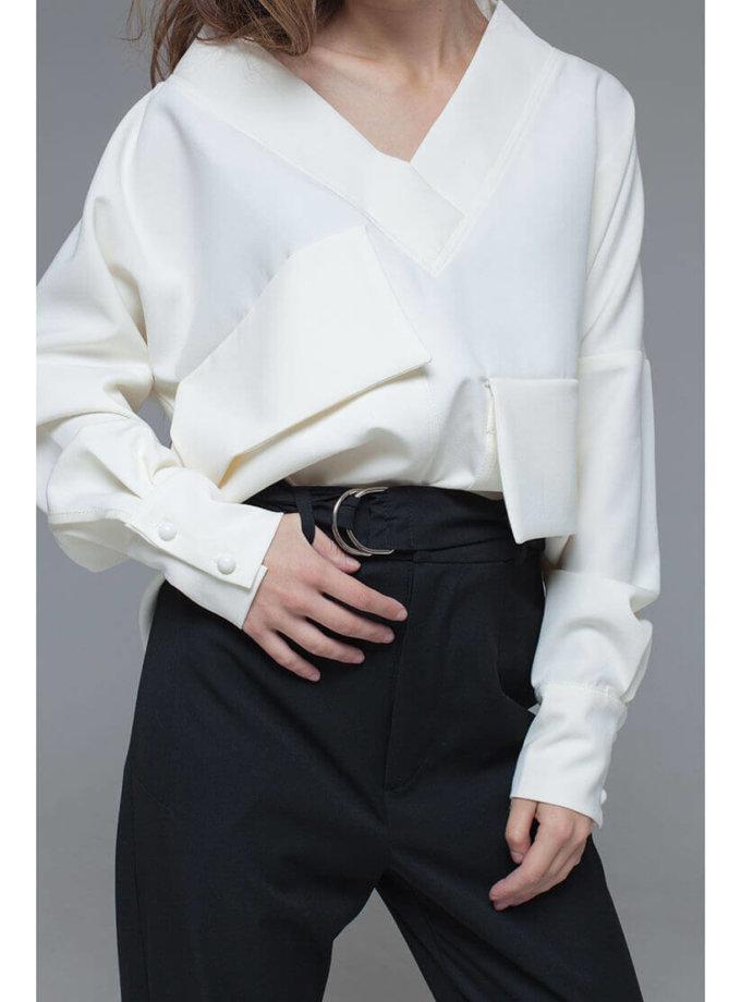 Блуза из костюмной вискозы с объемными карманами и поясом xm_fw109, фото 1 - в интернет магазине KAPSULA