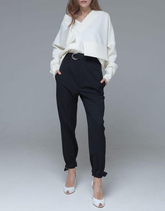 Блуза из костюмной вискозы с объемными карманами и поясом xm_fw109, фото 5 - в интеренет магазине KAPSULA