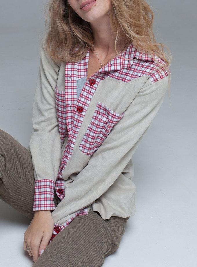 замшевая рубашка на трикотажной основе xm_fw112, фото 1 - в интернет магазине KAPSULA