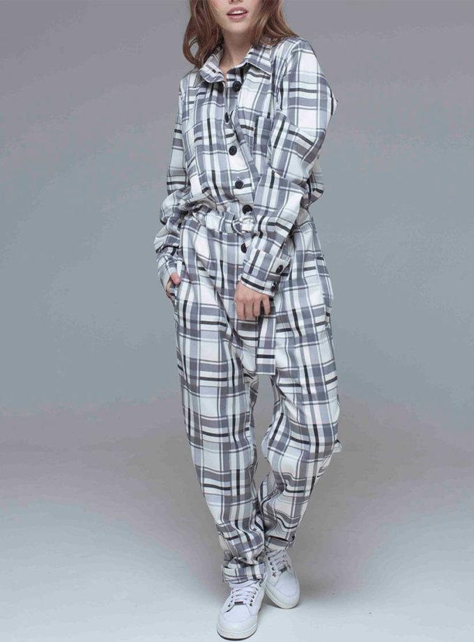 Комбинезон из костюмного хлопка в клетку xm_fw103, фото 1 - в интеренет магазине KAPSULA