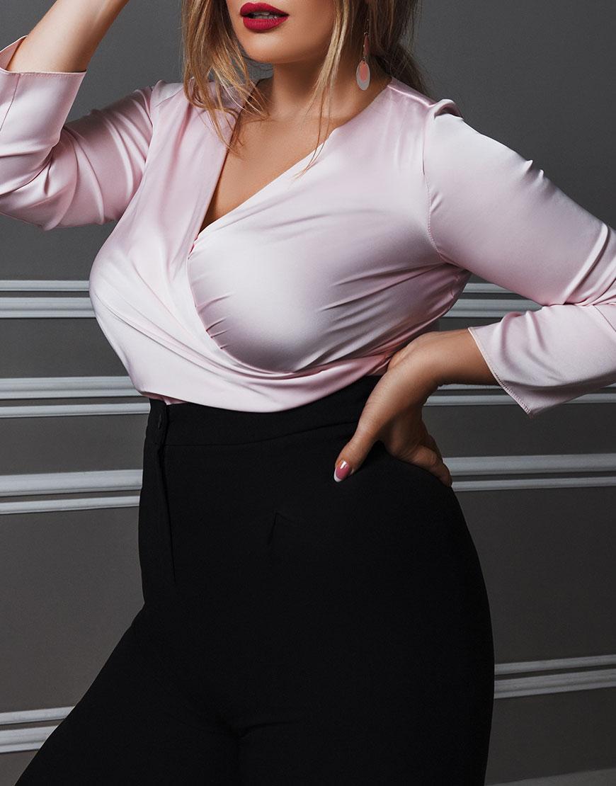 Шелковая блуза с v-образным вырезом PLUS