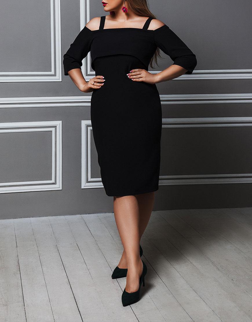 Платье с приспущенной линией плеча PLUS