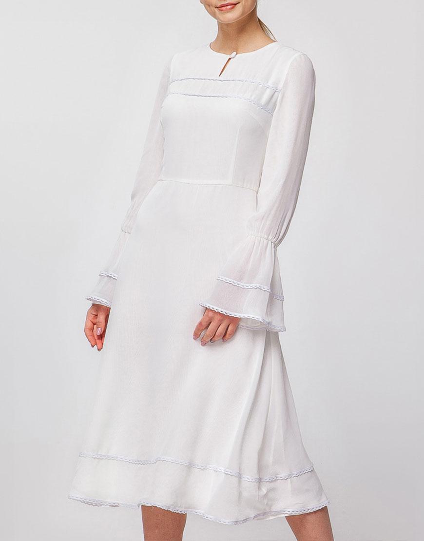 Шифоновое платье миди с кружевом