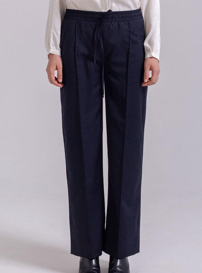 Прямые брюки из хлопка PPMT_PM-44_navy, фото 1 - в интернет магазине KAPSULA