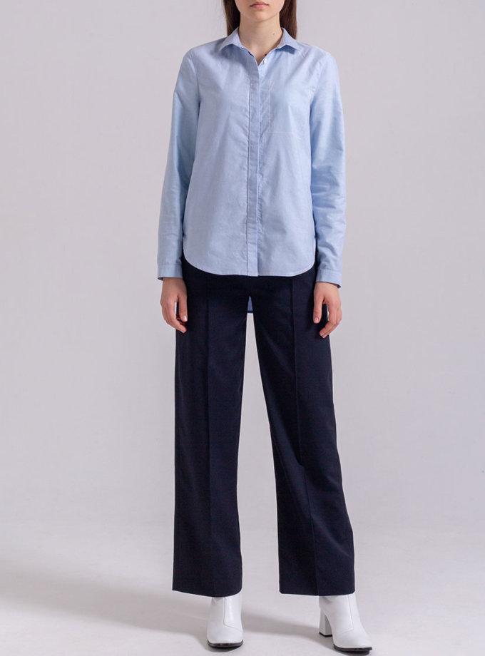 Рубашка прямого кроя PPMT_PM-47_blue, фото 1 - в интернет магазине KAPSULA