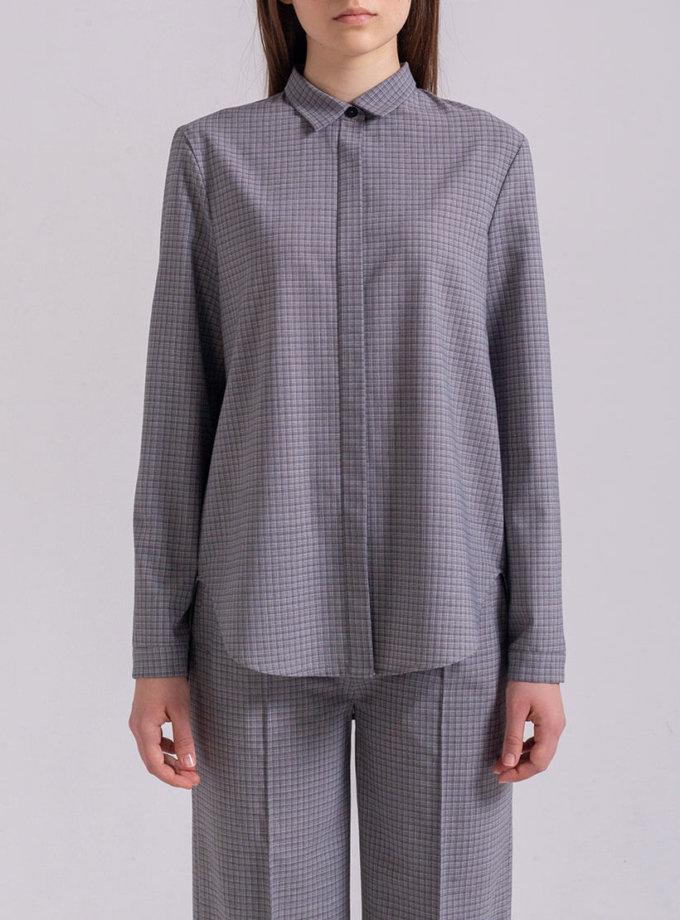 Рубашка прямого кроя PPMT_PM-47_cage, фото 1 - в интернет магазине KAPSULA