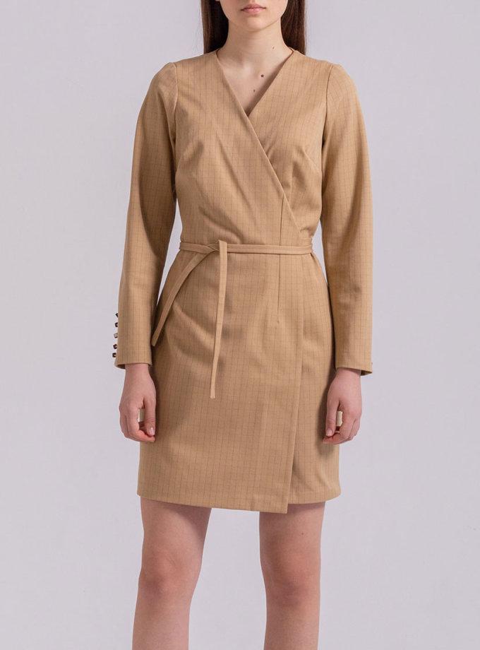 Платье мини на запах PPMT_PM-48_beige, фото 1 - в интернет магазине KAPSULA