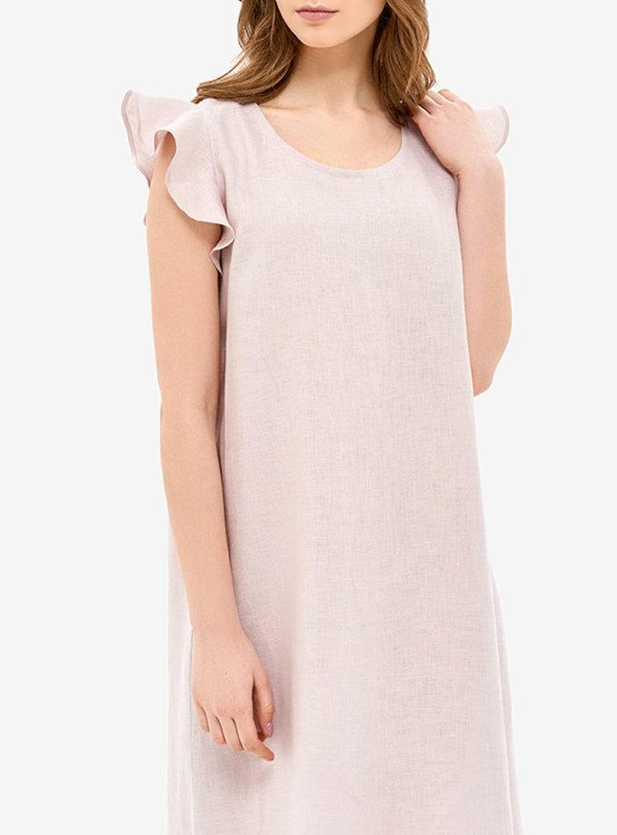 Льняное платье для дома с воланами MRND_Н1-2, фото 1 - в интеренет магазине KAPSULA