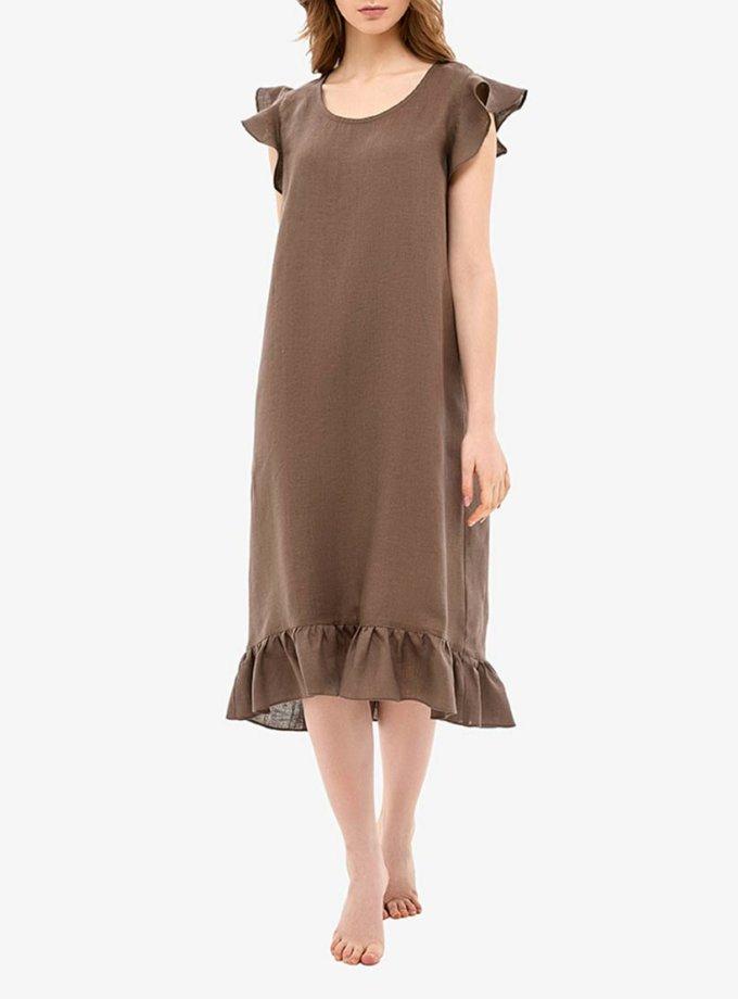 Льняное платье для дома с воланами MRND_Н1-3, фото 1 - в интеренет магазине KAPSULA