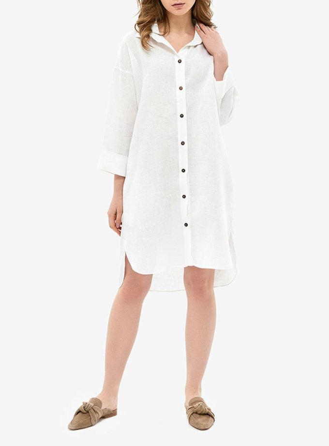 Льняное платье-рубашка для дома MRND_Н5-1, фото 1 - в интеренет магазине KAPSULA