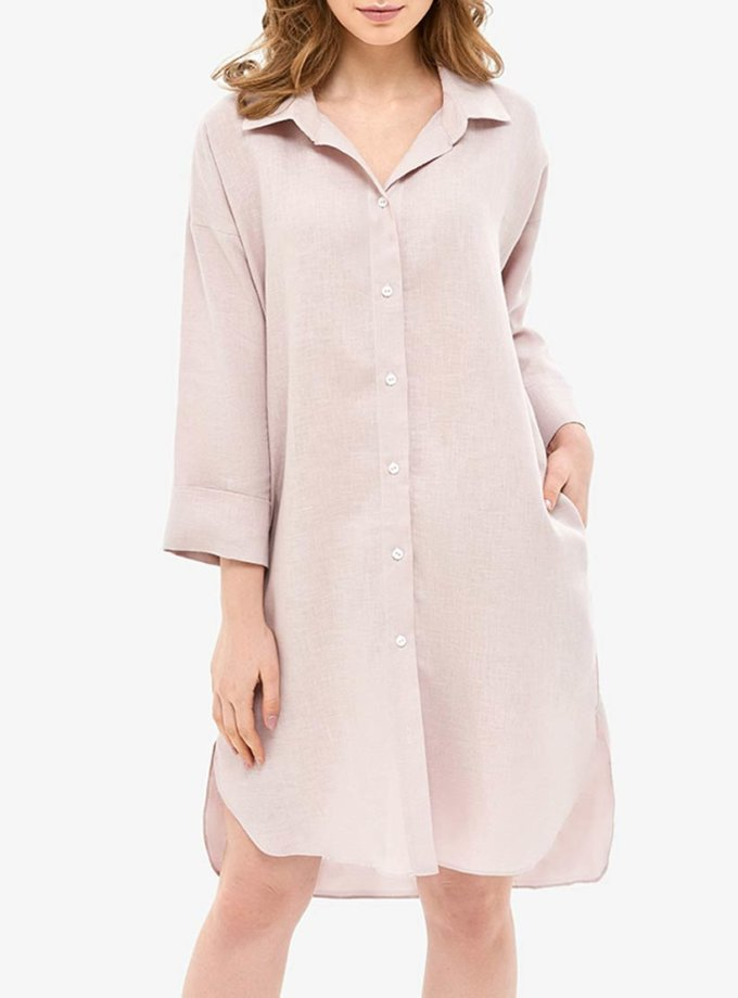 Льняное платье-рубашка для дома MRND_Н5-2, фото 1 - в интеренет магазине KAPSULA