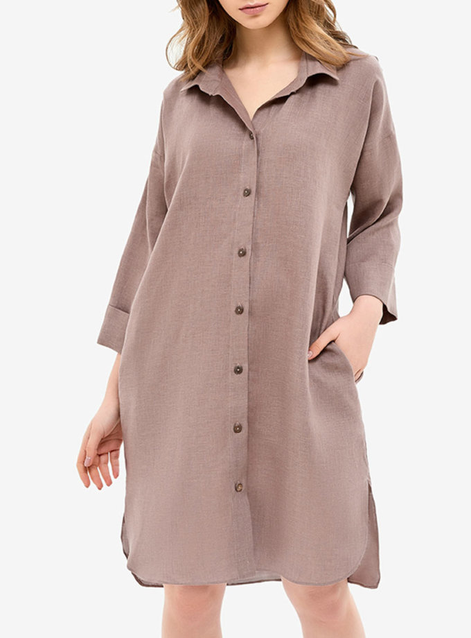 Льняное платье-рубашка для дома MRND_Н5-4, фото 1 - в интеренет магазине KAPSULA