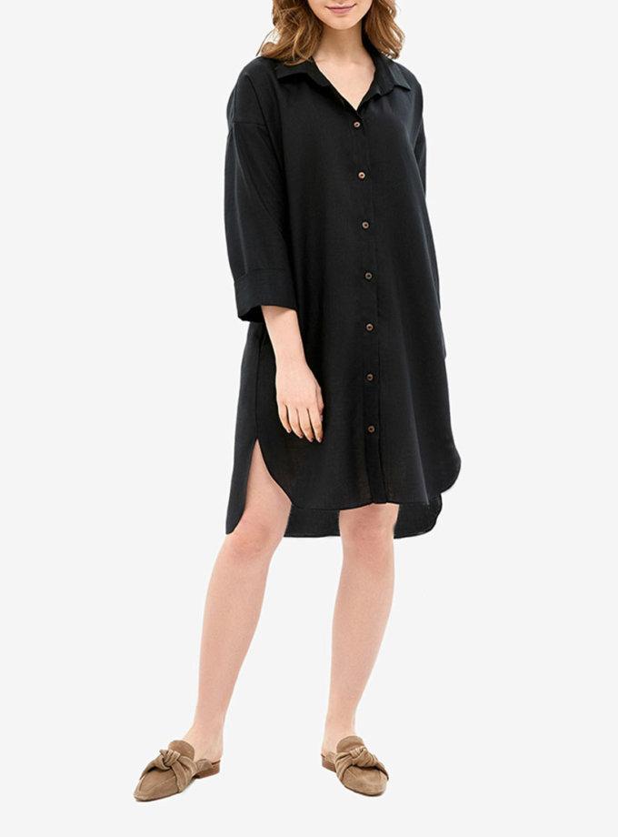Льняное платье-рубашка для дома MRND_Н5-5, фото 1 - в интеренет магазине KAPSULA