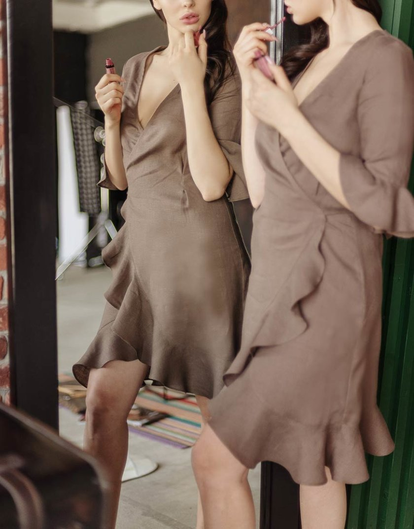 Льняной халат на запах MRND_Н6-3, фото 1 - в интеренет магазине KAPSULA