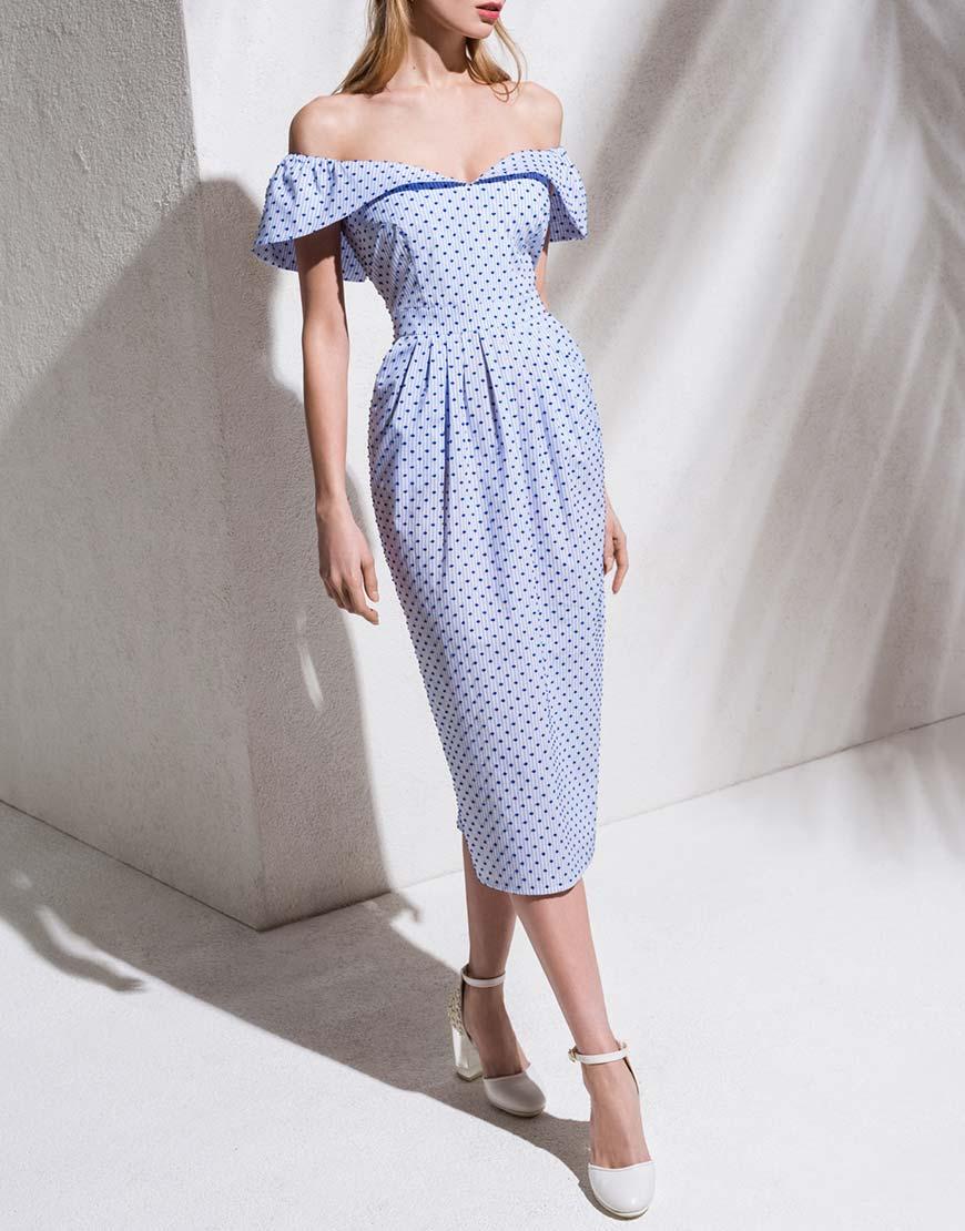 Платье с открытыми плечами из хлопка