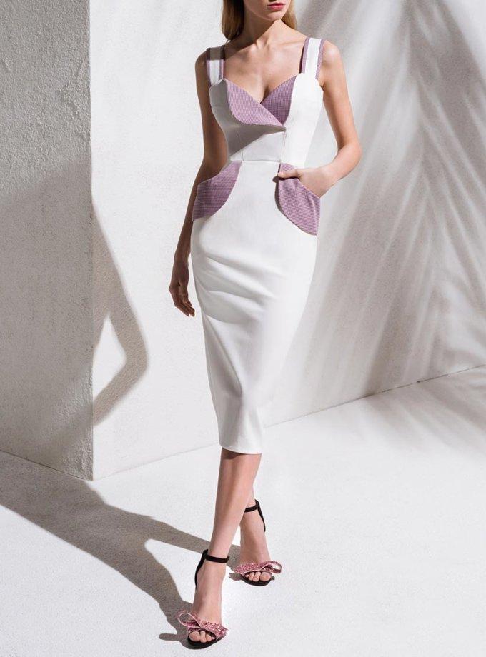 Джинсовое платье с контрастными вставками KS_S-S-20-05, фото 1 - в интернет магазине KAPSULA