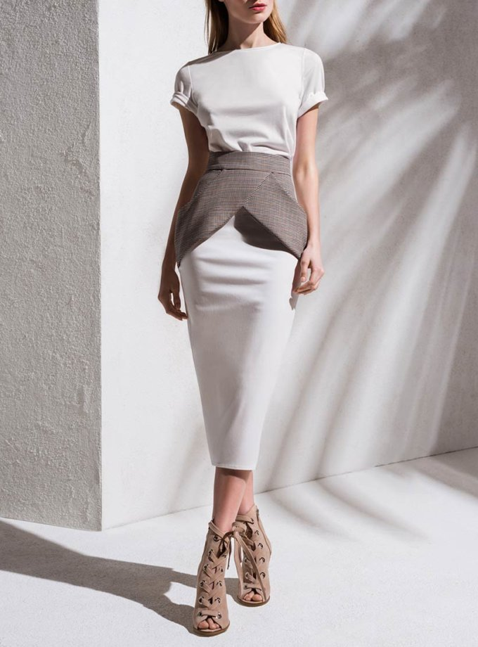 Джинсовая юбка с баской KS_S-S-20-06, фото 1 - в интернет магазине KAPSULA
