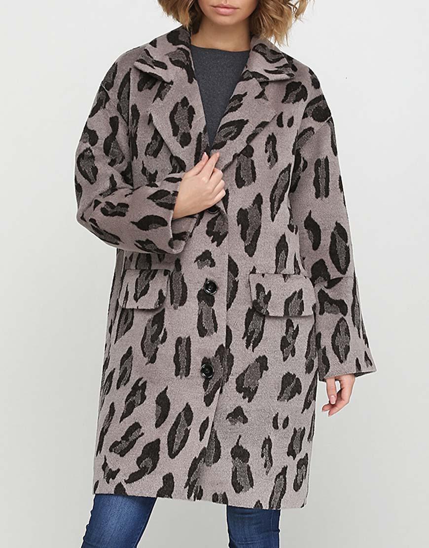 Пальто свободного силуэта в принт