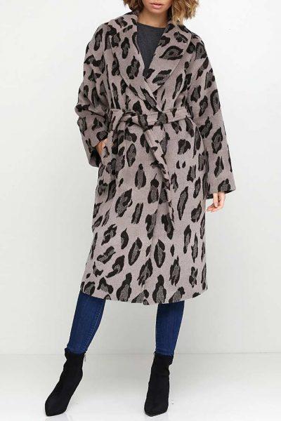Пальто из шерсти в леопардовый принт AY_2558, фото 1 - в интеренет магазине KAPSULA