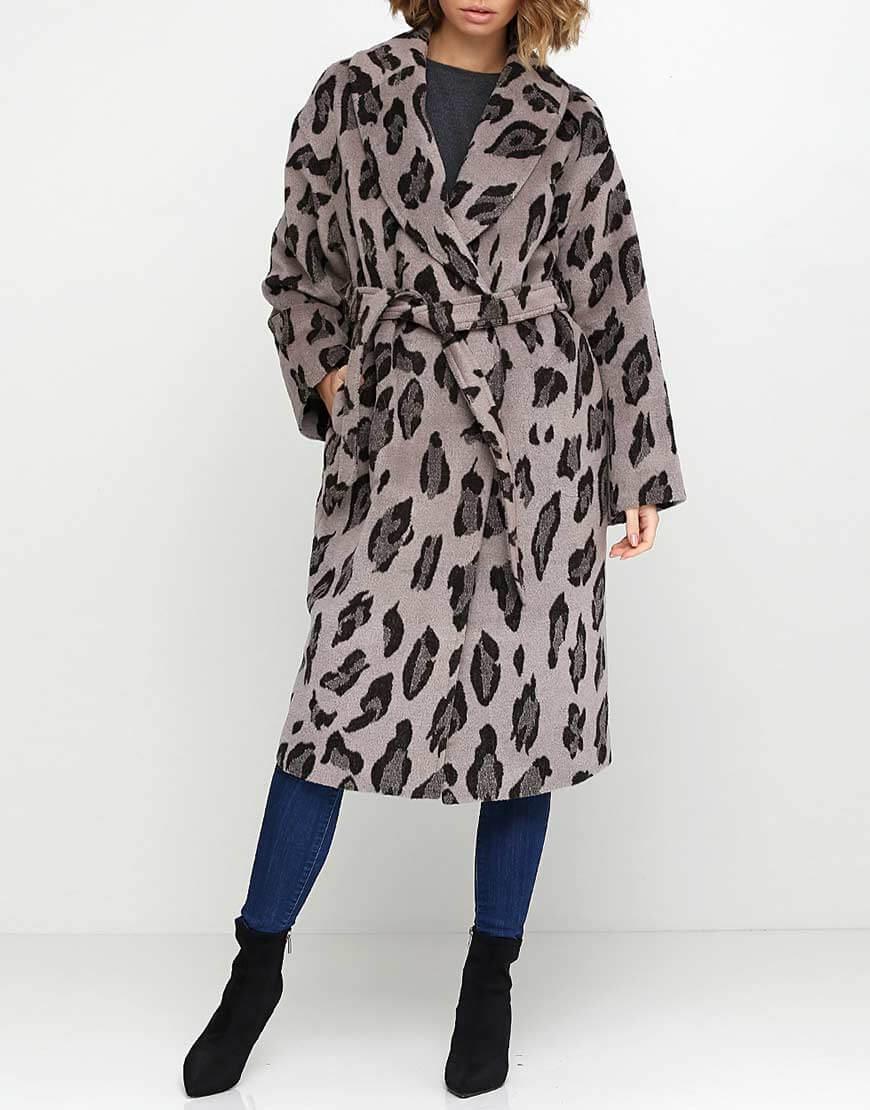 Пальто из шерсти в леопардовый принт