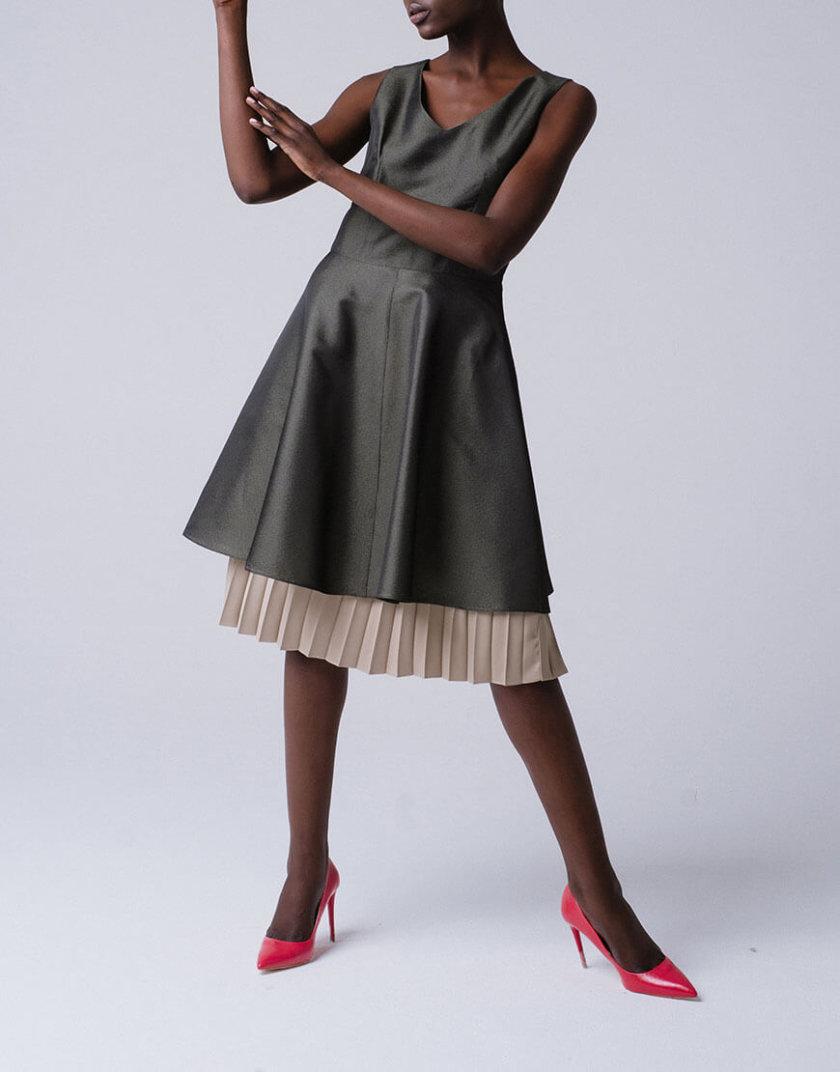 Платье А-силуэта с оборкой плиссе MNTK_MTDRS191003, фото 1 - в интернет магазине KAPSULA