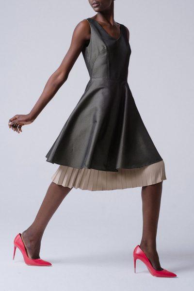 Платье А-силуэта с оборкой плиссе MNTK_MTDRS191003, фото 1 - в интеренет магазине KAPSULA