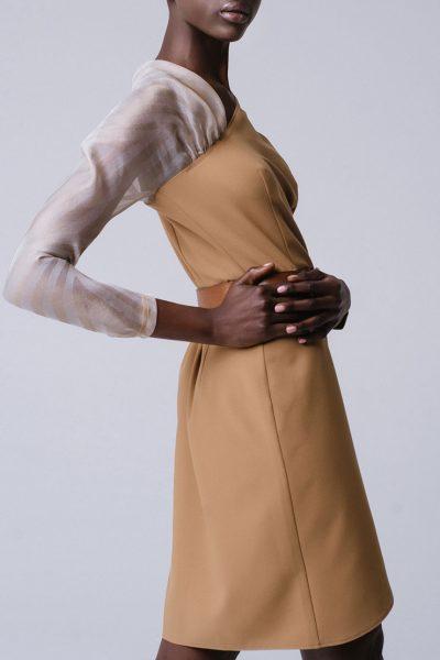 Платье на запахе с рукавом из органзы MNTK_MTDRS194001, фото 1 - в интеренет магазине KAPSULA
