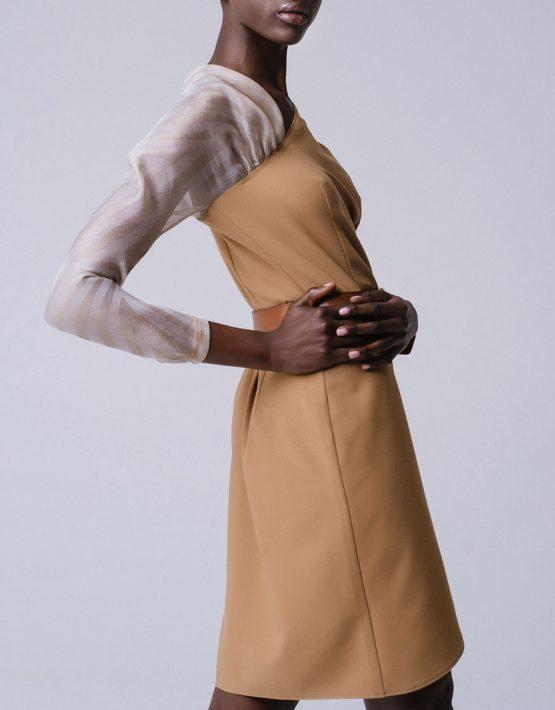 Платье на запахе с рукавом из органзы MNTK_MTDRS194001_outlet, фото 3 - в интеренет магазине KAPSULA