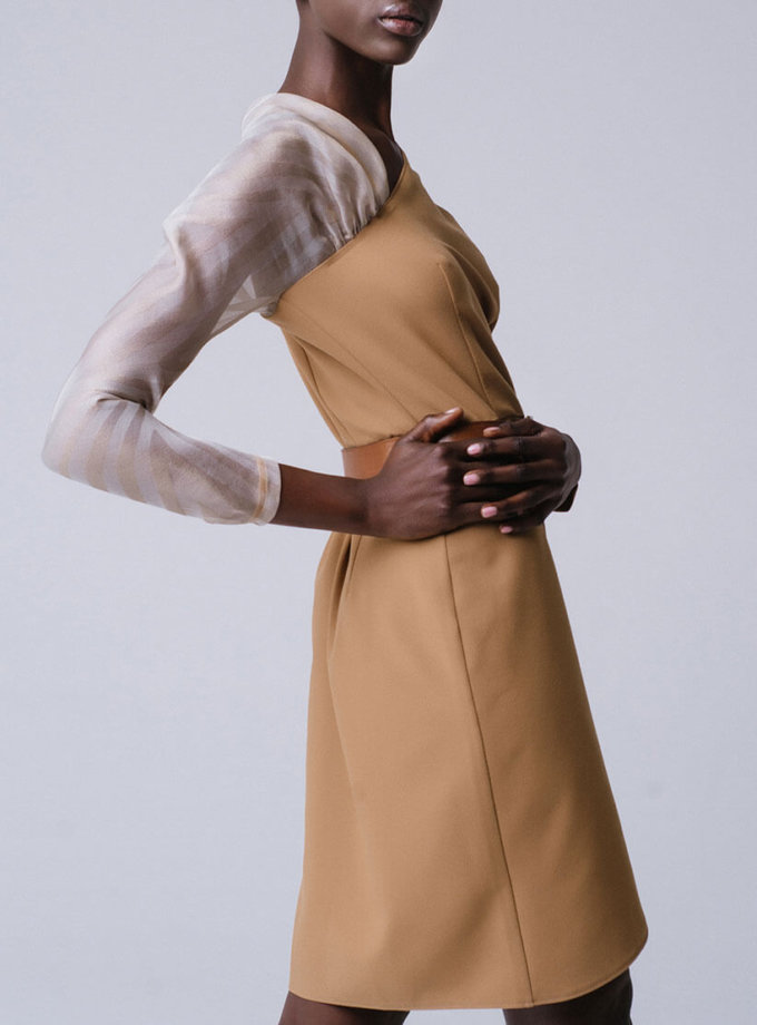 Платье на запахе с рукавом из органзы MNTK_MTDRS194001_outlet, фото 1 - в интернет магазине KAPSULA