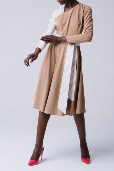 Платье с ассиметричными рукавами из органзы MNTK_MTDRS195001, фото 1 - в интеренет магазине KAPSULA