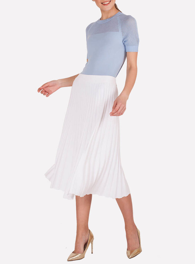 Вязаная юбка миди плиссе JND_18-140505_white, фото 1 - в интернет магазине KAPSULA