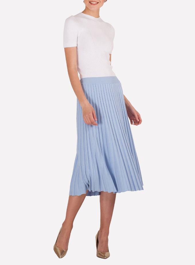 Вязаная юбка миди плиссе JND_18-140505_blue-1, фото 1 - в интеренет магазине KAPSULA