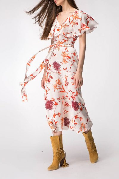 Платье миди с широкими рукавами SHKO_18020002, фото 1 - в интеренет магазине KAPSULA