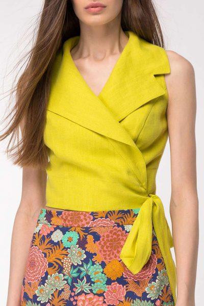 Льняная блуза на запах SHKO_19002001, фото 1 - в интеренет магазине KAPSULA