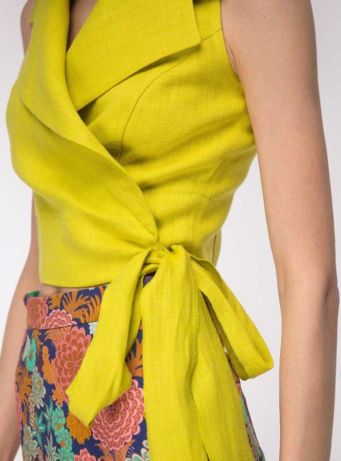 Льняная блуза на запах SHKO_19002001_outlet, фото 1 - в интернет магазине KAPSULA