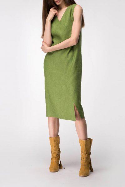 Льняное платье с разрезом SHKO_19003001, фото 1 - в интеренет магазине KAPSULA
