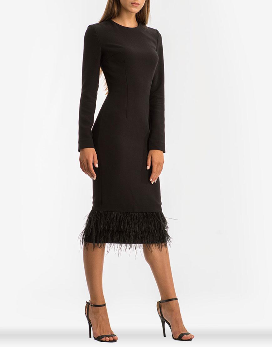 Платье миди с перьями