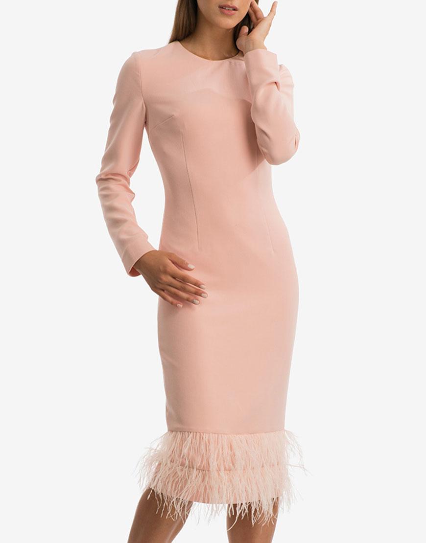 Платье миди с перьями на подкладе