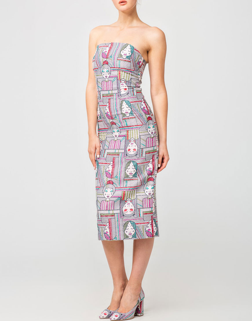 Коктейльное платье-бюстье в принт