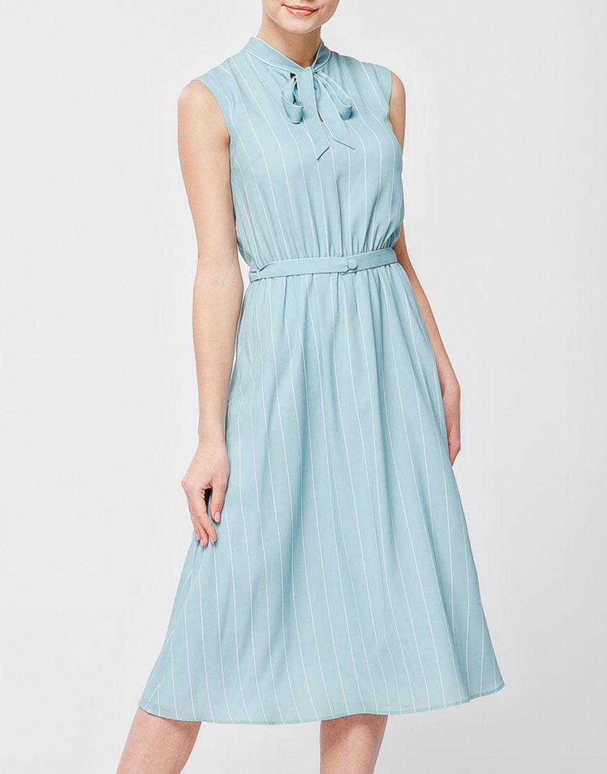 Платье в принт со съемным поясом