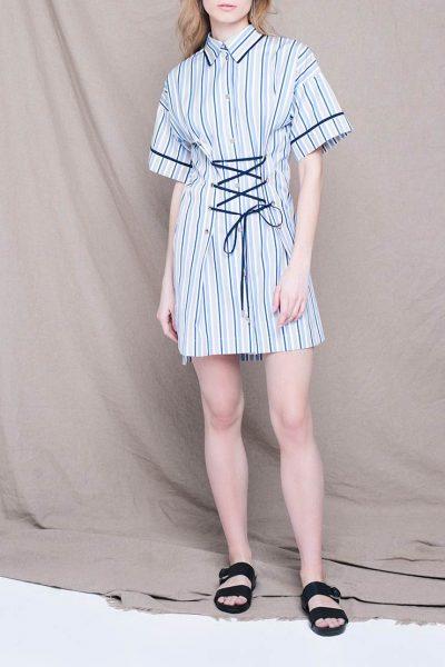 Платье мини со шнуровкой CYAN_DS_L03, фото 1 - в интеренет магазине KAPSULA