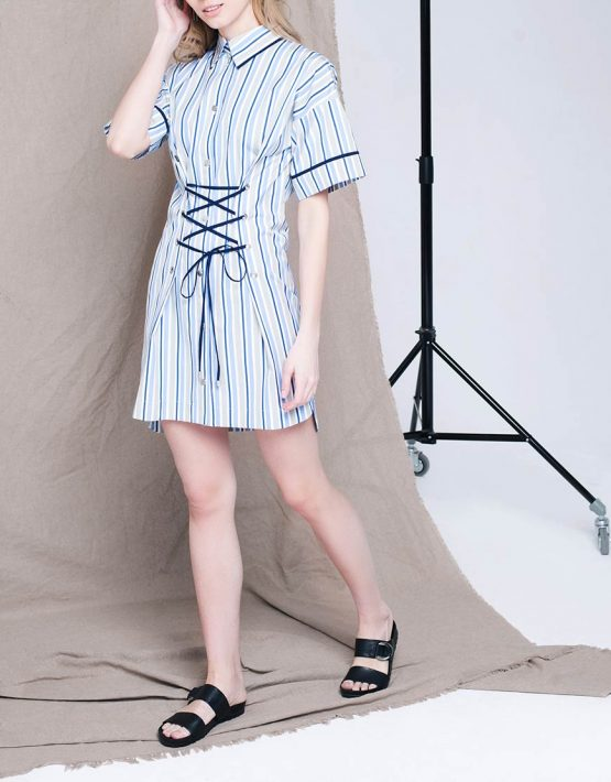 Платье мини со шнуровкой CYAN_DS_L03, фото 6 - в интеренет магазине KAPSULA