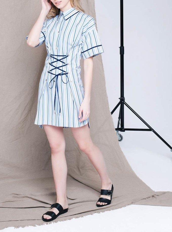 Платье мини со шнуровкой CYAN_DS_L03, фото 1 - в интернет магазине KAPSULA
